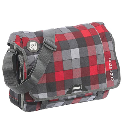 Coocazoo City and School Hang Dang Borsa a tracolla con scomparto per laptop 44cm, hip to be a square blue red district