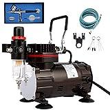 Aerografo Professionale Kit con Mini Compressore Aerografo Set, Aerografo Doppia Azione per Pittura Tatuaggio Modellismo Pasticceria Unghie Nail Art Torte Airbrush