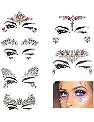 Lot de 6 bijoux Pawaca pour le visage - En acrylique avec strass et cristaux autocollants -Tatouages temporaires - Idéaux pour un festival