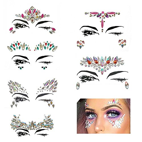 ce Stickers Bindi Crystals Festival Face Jewels Face Gems Glitter Temporary Tattoos for Eyes Face Body Stickers,Party Make-Up Rhinestone Rave (Kunst Stein Urlaub Kostüme)