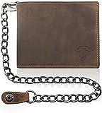 Billy the Kid XL Vintage Geldbörse Querformat Leder 12.5 cm mit Klappfach, Kette + Sicherheitsscheinfach