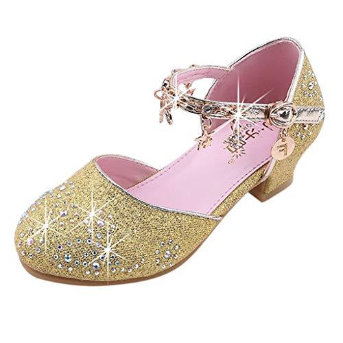 Vovotrade Mädchen Pailletten Glitter Solid Color Anhänger Strass Laufsteg Schuhe High Heel Prinzessin Schuhe Host Kleid zeigen ()