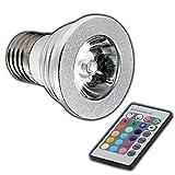 E27 RGB LED 4 Watt - Farbwechsel Lampe 4 Watt mit Fernbedienung Farblicht Lampe Strahler Glühbirne Birne Leuchtmittel Spot