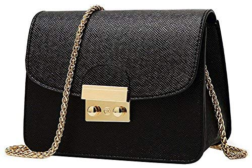 Honeymall Kleine Damentasche Umhängetasche Citytasche Schultertasche Handtasche Elegant Retro Vintage Tasche Kette Band(Schwarz) (Taschen Kleine)