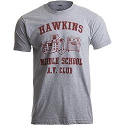 T-shirt «Hawkins Middle School » Camiseta Vintage Hombre X-Large Gris - X-Grande - XL