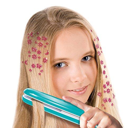 51UJBUs0KKL - Lena 42537 Top Chic - Set de Plancha de Pelo para niños a Partir de 8 años con Dispositivo de Peinado a Pilas, Tatuajes para el Pelo, Peine, Piezas para el Pelo en 3 Colores y Pinzas para el Pelo