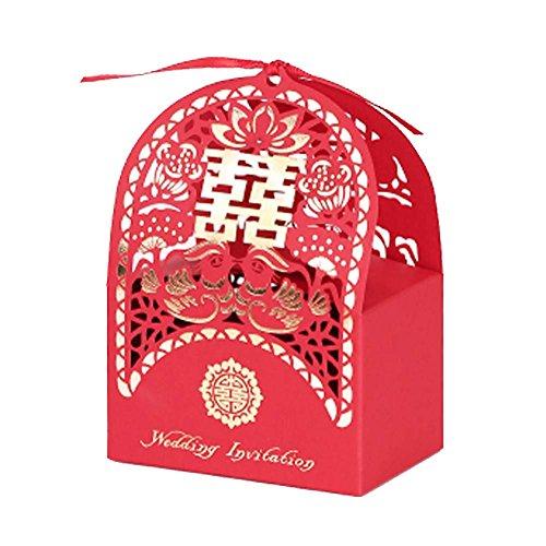 Panda Legends 10 Stücke Red Laser Cut Chinesischen Stil Hochzeit Pralinenschachtel Klassische Hochzeit Pralinenschachteln Hochzeit Gunsten Geschenk Box (Gunsten Boxen Chinesische)