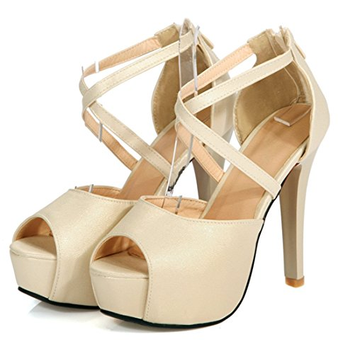 YE Damen Peep Toe High Heels Stilettos Plateau Pumps mit Riemchen Sommer Sandalen Party Elegant Schuhe Gold