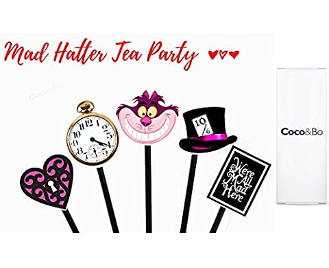 10 x Coco&Bo - Mad Hatters Tea Party Cupcake Picks - Toppers - Alice in Wonderland Queen of Hearts Tea Party Table Cake Decorations