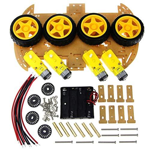 FCGV Smart Car Kit mit Drehzahlgeber 4Wd Smart Robot Car Chassis Kits DIY Kit -Yellow
