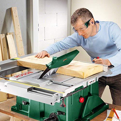 Bosch DIY Tischkreissäge PTS 10 T, Untergestell, Spaltkeil, Tischverlängerung, Winkelanschlag, Absaugschlauch, Karton (1400 W, Kreissägeblatt Nenn-Ø  254 mm, Schnitttiefe bei 90° 75 mm) - 2