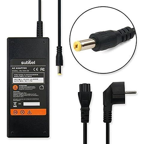 subtel® Alimentation de Qualité (19V,90W) pour Packard Bell EasyNote TH / TJ / TR (2.2m) Adaptateur secteur