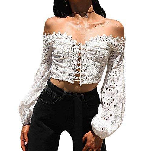 Berimaterry Damen T Shirt Schulterfrei Langarm Aushöhlen Blumen Spitze Bandage Bauchfreie Bluse Crop Top Einfarbige Oberteile für Strand Urlaub
