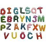 Tefamore-Juguete educativo de 26 letras de madera de dibujos animados imán para bebé