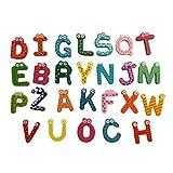 Tefamore-Juguete educativo de 26 letras de madera de dibujos animados imán para bebé (Multicolor)