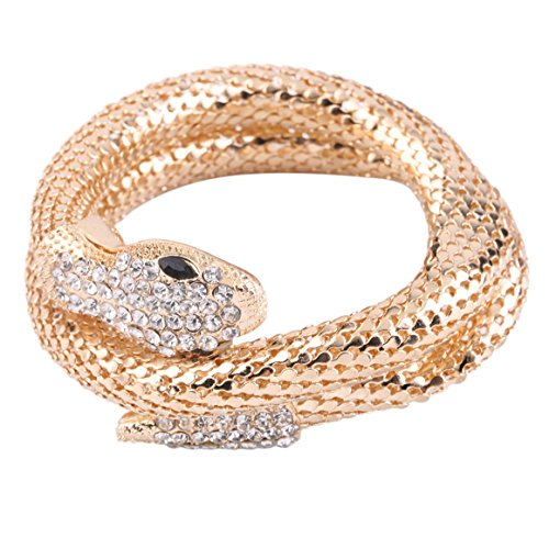(Funnyrunstore 100% Marke Modeschmuck Handmade Kristall Strass Armbänder Frauen Charme Armreif Schlange Punk Street Style Paar Armband (Gold))