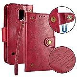 Lomogo Samsung Galaxy S5 Hülle Leder Retro, Schutzhülle Brieftasche mit Kartenfach Klappbar Magnetverschluss Stoßfest Kratzfest Handyhülle Case für Samsung Galaxy S5 - LOHHA10219 Rot
