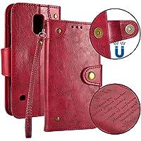 Cozy Hut Samsung Galaxy S5 Hülle, Samsung Galaxy S5 Echte Rindsleder Brieftasche Hülle [Premium Leder Serie] [Wallet Case] Praktishe Ledertasche [Rot] Integrierter Aufstell Funktion und