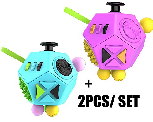 2PCS Fashion Fidget Cube 2 toy with Active Rocker Fidget Cube II Anxiety Stress Relief Focus 12 sides Dice for Adults Children Gadget PINK +BLUE color