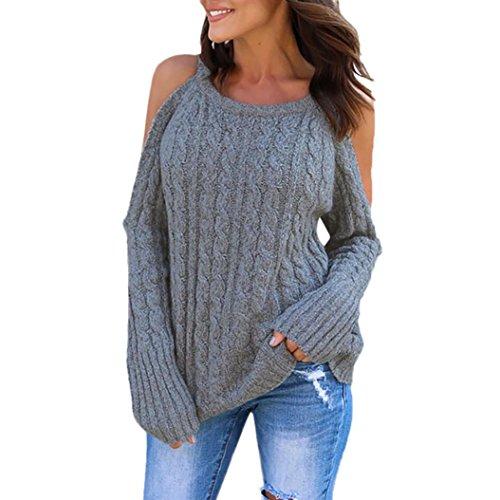 Frauen Pullover, Kingwo Damen neueste kalte Schulter Soild Farbe gestrickte Langarm Frauen Pullover Pullover (Grau, XL) (Des Farben Die Grau Team Gestreift)