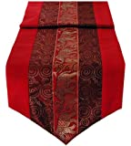 Intricate Table Runner Ebroidered Thai Silk & Cotton - 3 Shades of Red