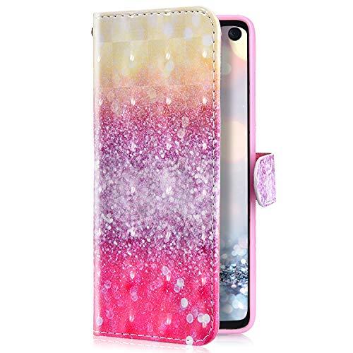 Uposao Kompatibel mit LG V50 ThinQ Handyhülle Glänzend Glitzer Leder Hülle Brieftasche Wallet Case Flip Schutzhülle Tasche Bookstyle Klapphülle Magnetisch Kartenfach Ständer,Rosa