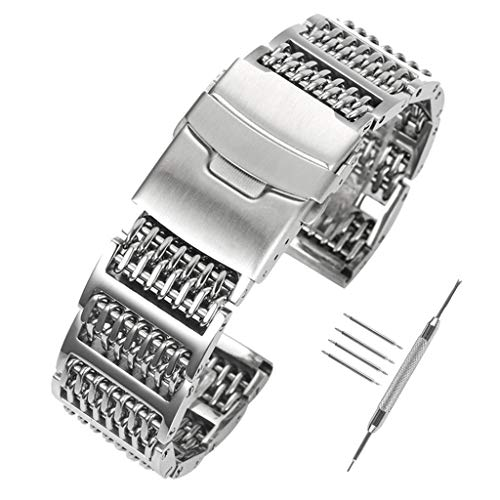 e3b56ea3a77 YISUYA Solid 316L H-Link Stainless Steel Shark Mesh Watch Strap Band 20mm  Width Silver