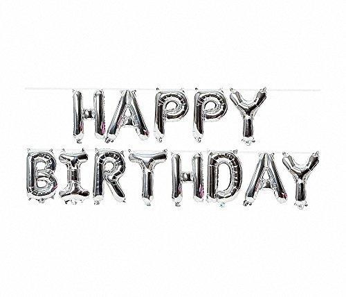 (Happy Birthday Ballons, Mylar Aluminium Folie Banner Luftballons für Geburtstag Party Dekorationen und Supplies, grau)