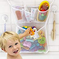 Bath Toy Organizer With 2M Strong Sticky Hooks,Quick Dry Mold Resistant Mesh Net,Bathroom Storage,Bathtub Baby Toy Bag With 3X Soap&Shampoo Pockets For Kids,Toddlers,Adults-11x16â€Large Size (White)