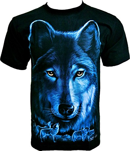 Rock Chang T-Shirt Black Wolf Lupo Nero Uomo Nero R611 (XXL)