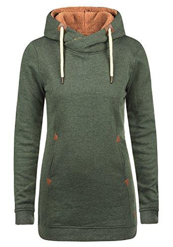 DESIRES Vicky Pile Hood Long Damen Kapuzenpullover Hoodie Sweatshirt lang mit Teddy-Futter aus hochwertiger Baumwollmischung, Größe:XL, Farbe:CLI IV PL (P8785) (China-kragen Tasche)