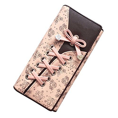 Damen lange Brieftasche - Kreative Schnürsenkel Stil Schöne Kartentasche - Bogen-Knoten PU Leder 3-Deck Geldbörse Münzfach Inhaber Veranstalter Brieftasche(Pink) -
