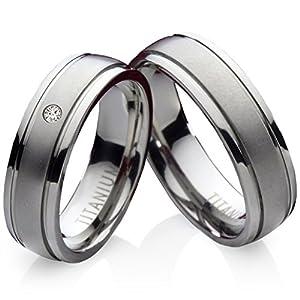 frencheis Titanringe Verlobungsringe Eheringe Trauringe Hochzeitsringe aus Titan mit Diamant Gravur TDB10