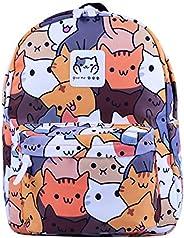 Anime Digital Cat Printing Nylon Backpack Women School Bags Students Back Pack Casual Bookbag Satchel