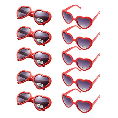ONNEA 10er Pack Herz Party Sonnenbrille UV400 Schutz Kinder Damen Herren (10er Pack Rot)
