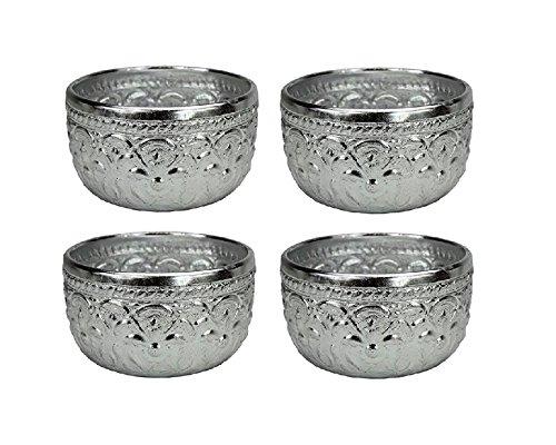 4 x Original Thai Gobelet couleur argent env. 0,15L Volume – TRINK rigide Idéal pour Prune vin ou même Saké