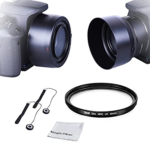 Zecti ES-68 Gegenlichtblende für Canon EF 50mm F/1.8 STM Lens Linsen Kappen Set 49mmUV Filter + Kappe + Microfaser Reinigungstuch + Trageriemen(Nicht kompatibel mit anderen Objektiv-Modell)