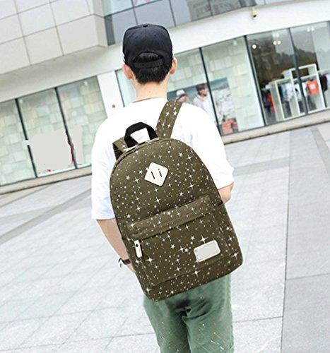 WanYang 3 Stück /2 Stück Freizeit Canvas Rucksack Studententasche Laptop Rucksack Schulbeutel Fashion Schultertasche Armee