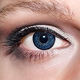 KwikSibs farbige dunkelblaue Kontaktlinsen 1 Paar (= 2 Linsen) weiche Linsen, 2-farbig inklusive Behälter und 50ml Pflegelösung (Stärke / Dioptrie: +1,25)