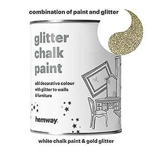 Hemway bianco calce colore (con glitter) Sparkle da parete con finitura opaca e mobili vernice 1L/992,2gram shabby chic vintage gessati Crystal (25brillantini colori disponibili), oro