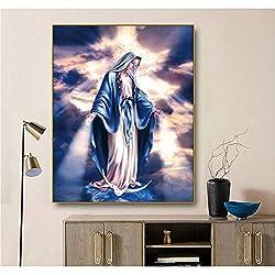 Bawangbieji Jungfrau Maria Dekoration Leinwand Malerei Kalligraphie Wand Kunstdruck Wohnkultur Leinwand Wandbilder für Wohnzimmer Kirche