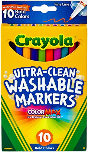 Crayola Ultra-Clean Color Max Fine Line Washable Markers-Bold Colors 10/Pkg