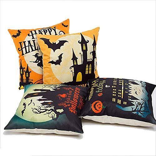 Halloween Leinen Kissenbezug, Dekorative Dekokissen Abdeckung Kissen Fall mit Bat Hexe Schloss für Halloween Party Favors Liefert ()
