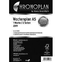 Chronoplan 50239 Kalendereinlage 2019, Wochenplan A5 in Spalten (1 Woche/2 Seiten), weiß
