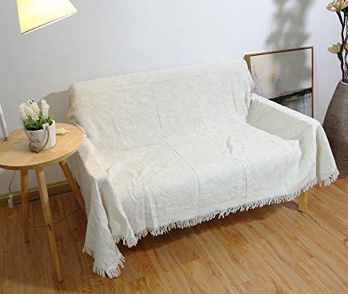 Ebeta Sofa Überwurf Sofabezug Sofa Hussen Couchbezug, Sofabezug Sofadecke Möbeldecke Überwurf für Sofa und Bett Weiß (Diamantgitter, 130x180 cm)