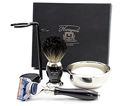 Black Shaving Kit Gift for Men(Gillette Fusion Razor,Brush,Bowl,Stand)