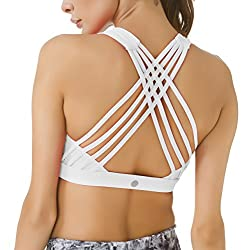 Queenie Ke Women's Medium Support Strappy Back Energy Sport Bra Cotton Feel Size S Color Angle White