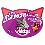 Whiskas Trio Crunchy Mixed Grill Flavours Cat Treats, 55g, Pack of 8