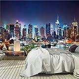 murimage Papier New York 366 x 254 cm colle inclus Photo Mural Manhattan Skyline Vue nocturne Nuit USA Cité bureau Wallpaper