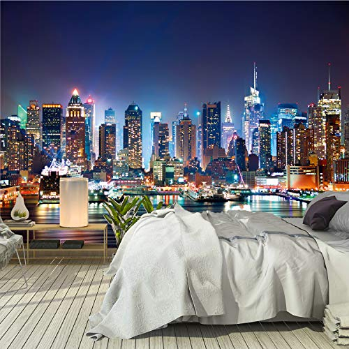 murimage Fototapete New York 366 x 254 cm inklusive Kleister Manhattan Skyline Tapete USA Nacht Office Wohnzimmer Schlafzimmer Flur Büro